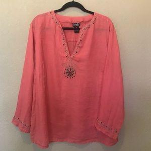 Rafaella coral linen popover top blouse 18